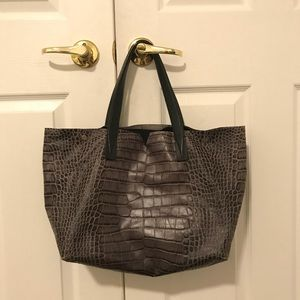 Vince Steel Blue Gray Croc Embossed Tote